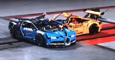 Bugatti Chiron vs Porsche 911 GT3, le crash-test en LEGO.